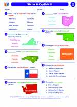 Social Studies - Fourth Grade - Worksheet: States & Capitals II