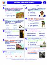 Social Studies - Fourth Grade - Worksheet: African American History