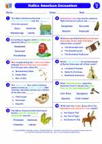 Social Studies - Fifth Grade - Worksheet: Native American Encounter