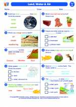 Science - First Grade - Worksheet: Land, water, and air