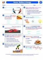Science - Fourth Grade - Worksheet: Forces, Motion end Energy