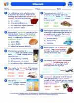 Science - Eighth Grade - Worksheet: Minerals
