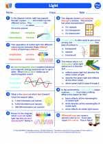 Science - Eighth Grade - Worksheet: Light