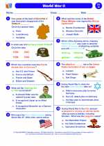 Social Studies - Eighth Grade - Worksheet: World War II