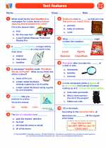 English Language Arts - Fifth Grade - Worksheet: Text Features