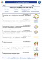 Science - Seventh Grade - Vocabulary: The World of Life Science