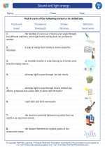 Science - Fifth Grade - Vocabulary: Sound and light energy