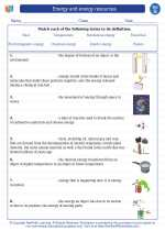 Science - Seventh Grade - Vocabulary: Energy and energy resources