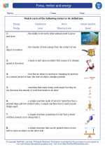 Science - Fourth Grade - Vocabulary: Force, motion and energy