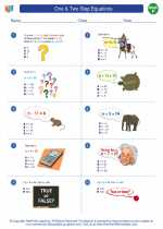 Mathematics - Sixth Grade - Worksheet: One & Two Step Equations