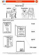 English Language Arts - Kindergarten - Worksheet: Book parts