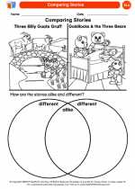 English Language Arts - Kindergarten - Worksheet: Comparing Stories
