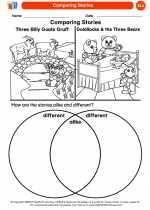 English Language Arts - Kindergarten - Worksheet: Comparing Stories
