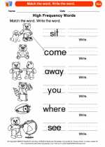 English Language Arts - Kindergarten - Worksheet: Match the word. Write the word.