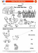 English Language Arts - Kindergarten - Worksheet: Rebus The Little Red Hen