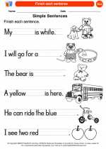 English Language Arts - Kindergarten - Worksheet: Finish each sentence