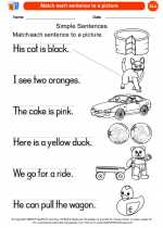 English Language Arts - Kindergarten - Worksheet: Match each sentence to a picture