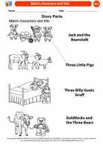 English Language Arts - Kindergarten - Worksheet: Match characters and title