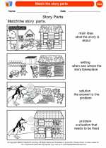 English Language Arts - Kindergarten - Worksheet: Match the story parts