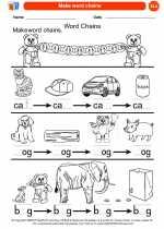 English Language Arts - Kindergarten - Worksheet: Make word chains