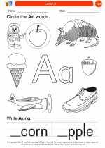English Language Arts - Kindergarten - Worksheet: Letter A