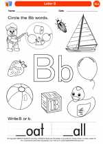 English Language Arts - Kindergarten - Worksheet: Letter B