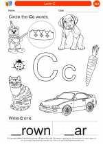 English Language Arts - Kindergarten - Worksheet: Letter C