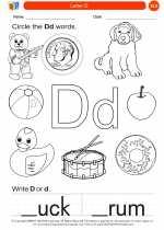 English Language Arts - Kindergarten - Worksheet: Letter D