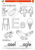 English Language Arts - Kindergarten - Worksheet: Letter E