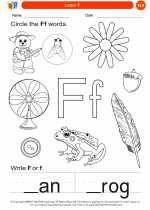 English Language Arts - Kindergarten - Worksheet: Letter F