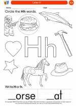 English Language Arts - Kindergarten - Worksheet: Letter H