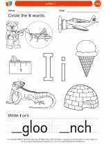 English Language Arts - Kindergarten - Worksheet: Letter I