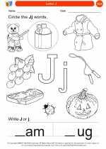 English Language Arts - Kindergarten - Worksheet: Letter J