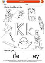 English Language Arts - Kindergarten - Worksheet: Letter K