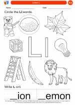 English Language Arts - Kindergarten - Worksheet: Letter L
