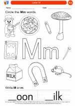 English Language Arts - Kindergarten - Worksheet: Letter M