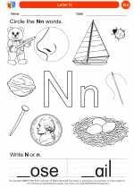 English Language Arts - Kindergarten - Worksheet: Letter N
