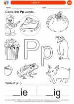 English Language Arts - Kindergarten - Worksheet: Letter P