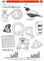 English Language Arts - Kindergarten - Worksheet: Letter Q