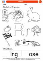 English Language Arts - Kindergarten - Worksheet: Letter R