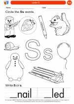 English Language Arts - Kindergarten - Worksheet: Letter S