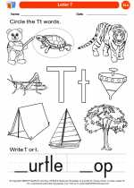 English Language Arts - Kindergarten - Worksheet: Letter T