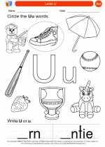 English Language Arts - Kindergarten - Worksheet: Letter U