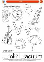 English Language Arts - Kindergarten - Worksheet: Letter V