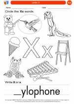 English Language Arts - Kindergarten - Worksheet: Letter X
