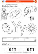 English Language Arts - Kindergarten - Worksheet: Letter Y