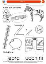 English Language Arts - Kindergarten - Worksheet: Letter Z
