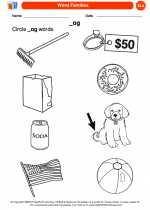 English Language Arts - Kindergarten - Worksheet: Circle _ag words.