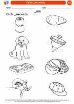 English Language Arts - Kindergarten - Worksheet: Circle _am words.