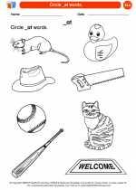 English Language Arts - Kindergarten - Worksheet: Circle _at words.